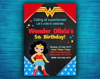 Wonder Woman Invitation - Wonder Woman Party Invitation - Wonder Woman Birthday - Superhero Birthday Party -Girl Birthday- Digital file
