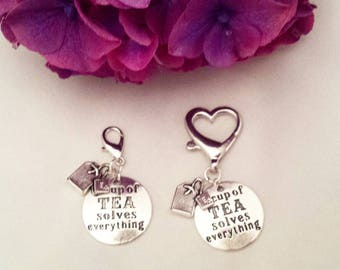 A Cup of Tea Solves Everything Planner Charm//Bag Charm//Purse Charm//Keychain