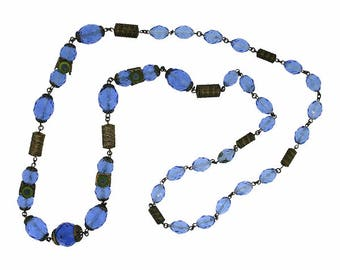 Neiger Brothers 1920s Blue Glass and Enamel Vintage Necklace