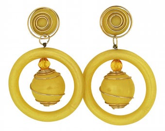 1980s Yellow Lucite Vintage Hoop and Ball Earrings