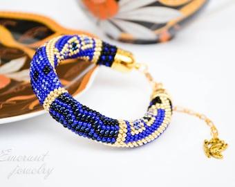 Inspiration jewelry Blue beaded crochet bracelet Boho beaded Bracelet Bohemian bracelet Gift For her Birthday gift idea Festival Denim