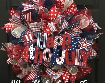 Patriotic Wreath, 4th of July Wreath, Independence Day, summer Wreath, Front door Wreath