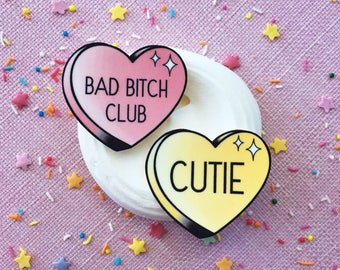Custom Conversation Hearts brooch or magnet / Pin / Pinup / 1950s / Vintage / Rockabilly / Retro / Candy