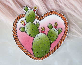Prickly Pear Cactus Heart brooch or magnet / Pin / Pinup / 1950s / Vintage / Rockabilly / Retro / Western