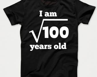 Square Root of 100 10 Years Old Funny 10th Birthday Kids T-Shirt