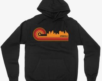 Vintage Retro 1970's Style Springfield Illinois City Skyline Hoodie