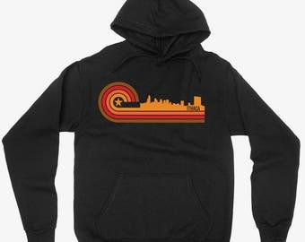 Vintage Retro 1970's Style Ithaca NY City Skyline Hoodie