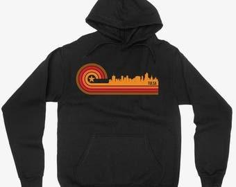 Vintage Retro 1970's Style Tulsa Oklahoma City Skyline Hoodie
