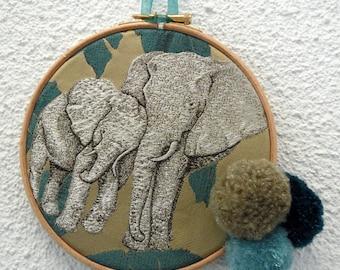 wood frame decorative silver elephants