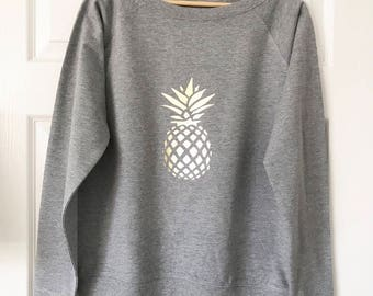 pineapple sweater, metallic pineapple, neon pineapple, slouchy sweater, summer sweater, jumper, ladies, womens, grey jumper