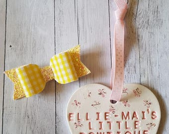 Yellow Gingham Classic Bow