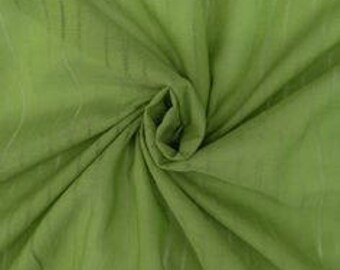 """1 yard Green Open Stripes Silk/Cotton Voile Fabric 40"""" Wide"""