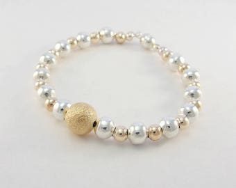 Rose gold and silver beaded bracelet / magnetic clasp bracelet