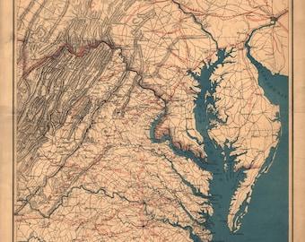Map of Virginia Eastern Shore, Chesapeake Bay; Antique Map, 1862