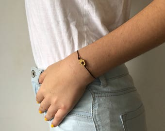 Small and cute gold plated hamsa charm bracelet