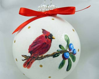 Decoupage Glass Ornament. Cardinal Ornament. Holiday Ornament. Painted Ornament. Holly.