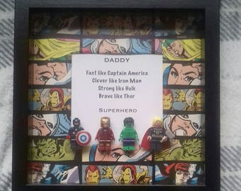 Daddy Dad superhero present featuring 4 minifigures Hulk captain America Thor iron man great gift for a marvel avengers superhero birthday