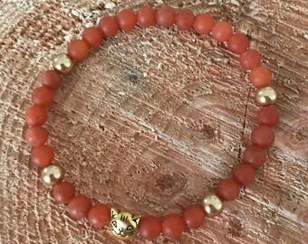 OOAK Red aventurine and cat bead Bracelet