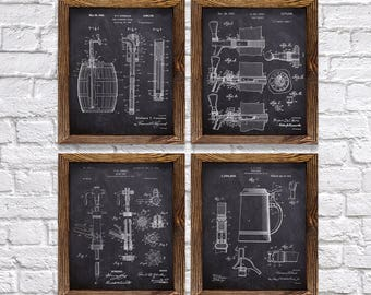 """Gifts for Beer Brewers! - Vintage Beer Themed Patents - Set of Four - 8x10"""" Prints - Christmas gift for Beer Lovers! (set#3)"""