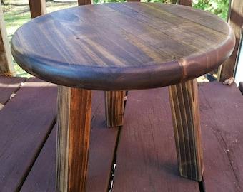 Three Legged Stool, Round wood stool, milking Stool,  Wood stool,  Wood footrest. Plant stand