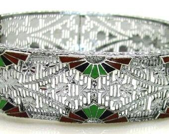 Vintage, Art Deco, Rhodium & Enamel Pierced Filigree Bangel Bracelet