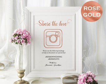 Share The Love Sign - Rose Gold Wedding Hashtag Sign - DIY Hashtag Wedding Printable - Wedding Sign - Downloadable wedding  #WDH0rs0128
