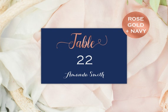 Wedding Name Cards - Place Cards Template - Simple Wedding - Navy and Rose Gold Wedding  - Downloadable wedding #WDH887Nrg