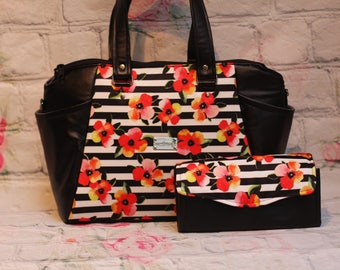 Annette Flowers and stripes PUL purse small diaper bag or shoulder bag with faux black vinyl leather (matching wallet listed separately)