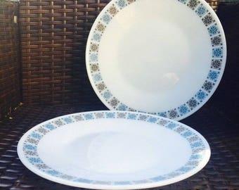 "Pyrex, Vintage, Retro, JAJ Pyrex, Chelsea Round 10"" Dinner Plates, Set of 2, Pyrex Chelsea Pattern Dinner Plates, Collectable, Kitchenalia"