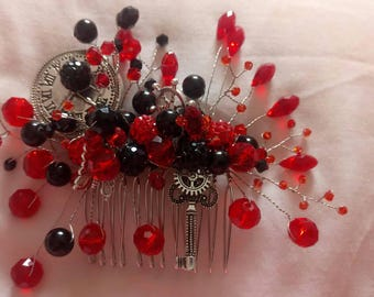 Black and red steampunk haircomb vintage inspired unique one of a kind jewellery perfect for bridesmaids or just as a stylish hairpiece