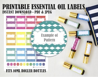 Printable Essential Oil Labels - 10ml Rollerball Labels Triangle Geometric Pattern in Bright Rainbow Colors