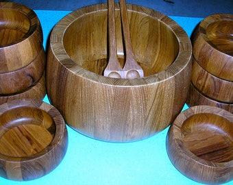 Vintage 70s, Dansk, teak salad bowl set, eight bowls, mid century, Danish style, JHQ design