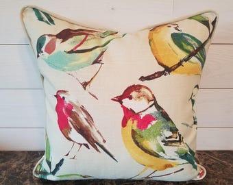 Bird Decorative Pillow Cover, Bedroom Decor, Sofa Pillows, Toss Pillow Sofa, Accent Pillow, Cushion, Throw Pillow 18x18