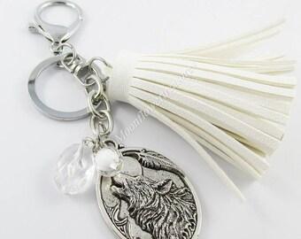 Arctic White Wolf Charm Keychain Keyring with Tassel 130mm