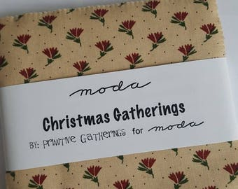 """Christmas Gatherings by Primitive Gatherings for Moda Charm Pack, 42 5"""" Precut Squares All Cotton"""