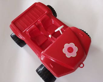 Vintage Plastic Toy Car model rare soviet russian red large cabriolet kid gift children baby boy collectible item