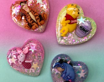 Winnie the Pooh inspired heart brooch / necklace