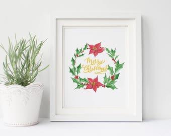 Christmas printable - Holiday printable - Christmas wreath -watercolor wreath-Christmas watercolor holly poinsettia painting-Merry Christmas