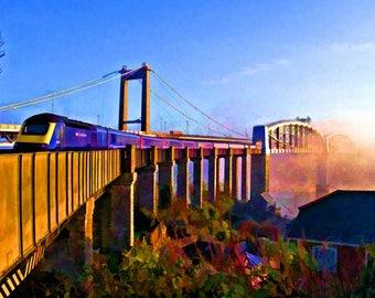 Brunel Bridge with train and mist from Saltash