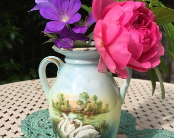 Vintage urn vase porcelain swans, czechoslovakian pottery c1920s