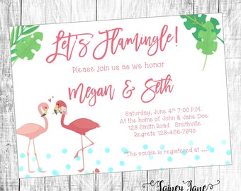 Couples Shower Invitation, Engagement Shower Invitation, Customized Shower Invitation, Flamingo Shower Invitation, Let's Flamingle Shower
