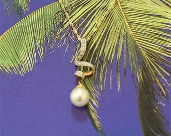 White Pearl Pendant, 14KT Yellow Gold White Round Pearl Pendant W. Diamonds, P5079,  Made in Hawaii