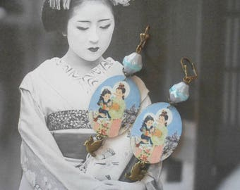"""Japanese ethnic """"Our Lady of Asia"""" earrings brass, Czech beads"""