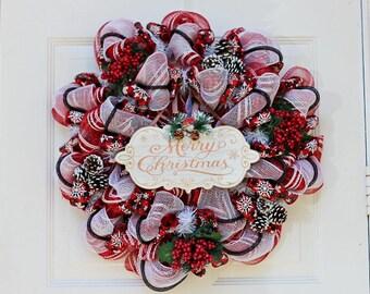 Christmas Deco Mesh Wreath, Rustic Wreath, Red Wreath, Buffalo Plaid and Pine Cones