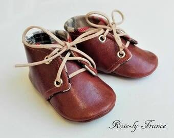 Bebé calzado bebé cuero marrón vintage y tartán escoc beige