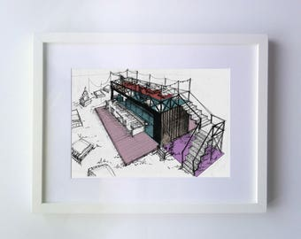 Boceto Arquitectónico 1 | Architecture Drawing Arch Sketch Ilustracion illustration Impreso Print home decoration regalo gift restaurant art