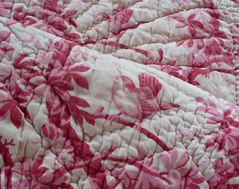 RESERVED SOLD RESERVED Antique French quilt hand stitched/ 2 pieces of quilted fabric for reworking/raspberry red textile/