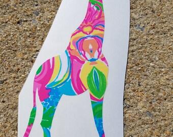Lilly Inspired Giraffe Vinyl Decal