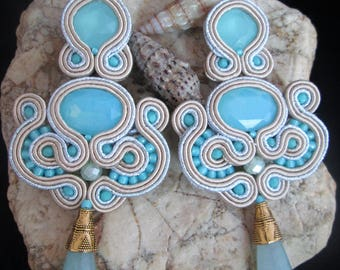 soutache earrings sky opal