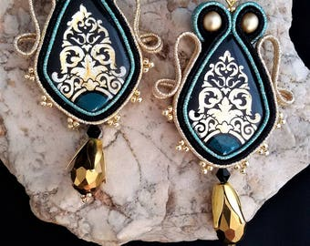 soutache earrings gold black jewels, Soutache Jewerly, fashion, Soutache Jewels, accessories, cabochon, crystals, beads, handmade from Italy